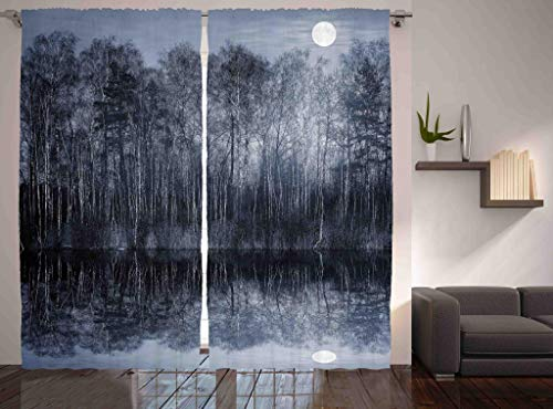 Jungle Art Collection - Ambesonne Nature Art Decor Collection, Peaceful Jungle By The Lake With Moon In Black And White Forest Landscape Print, Living Room Bedroom Curtain 2 Panels Set, 108 X 90 Inches, Monochrome Blue