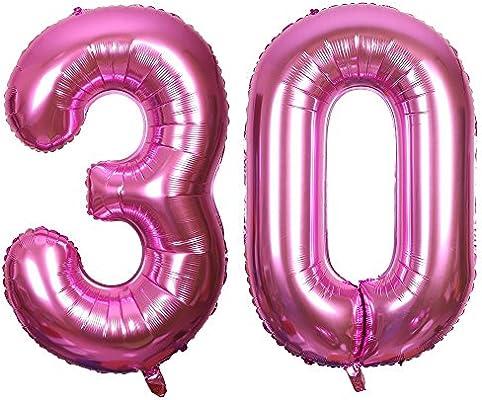 Ouinne Globo 30 Años, 40 Pulgadas Globo del Cumpleaños Número 30 Helio Globos para La Decoración Boda Aniversario (Rosa)