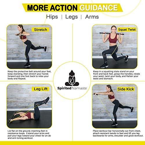 Spirited Namaste – Kit de entrenamiento portátil para pilates/yoga, barra corporal y palo para tonificar el hogar con 3 bandas de resistencia: accesorios, bandas de entrenamiento de suspensión con correa para el pie y banda de gimnasio de pilate 4