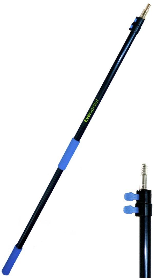EVERSPROUT 1,5m-3,7m Extension télescopique (portée 6m) | Aluminium léger, antirouille | Pointe filetée ACME 3/4' raclette, chiffon et rouleau à peinture Twist-On (manche seulement)
