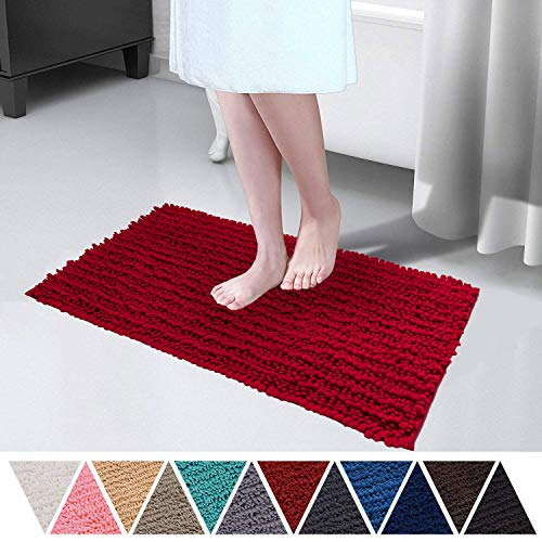 DEARTOWN 20×32 Inch TPR Non-Slip Soft Microfibers of Bathroom Rug Machine-Washable Shaggy Bath Mats – Style 1: Red