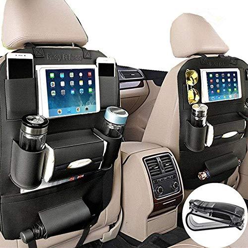 Car Back Seat - PALMOO Pu Leather Car Seat Back Organizer and iPad mini Holder, Universal Use as Car Backseat Organizer for Kids, Storage Bottles, Tissue Box, Toys (1 Pack, Black)
