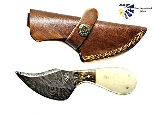 Damascus Skinning Knife By Titan /Stag Horn/Bone Grip by Titan