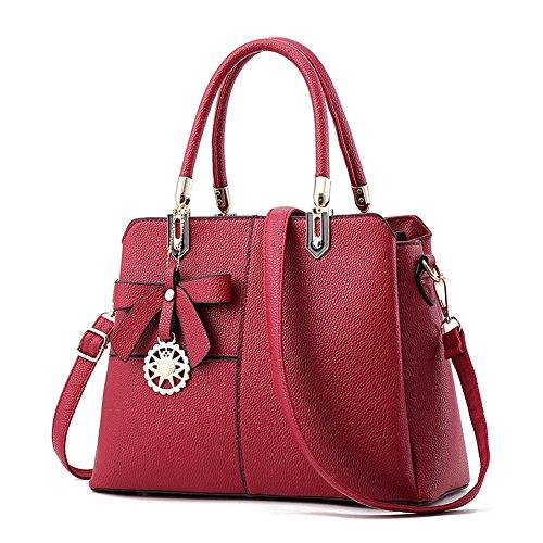 ZiXing Borsa da Donna Vintage in Finta Pelle Borsa a Tracolla Moda Vino rosso