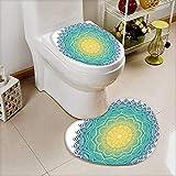 L-QN Soft Toilet Mat 2 Pieces Set Collection Aquatic Color Mandala Pattern Sun in Center Indian Art Meditation Zen Machine-Washable