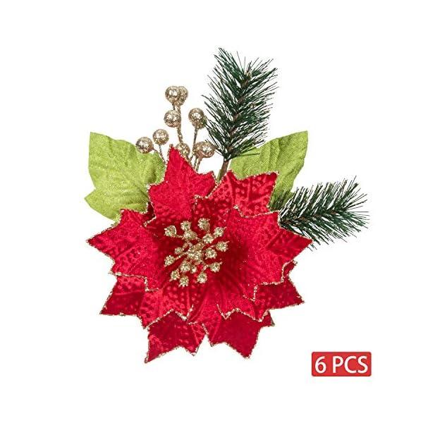 KI Store Christmas Poinsettia 6pcs Artificial Flower Picks Spray for Christmas Tree Decoration Wreath Garland (Red, 9-Inch)