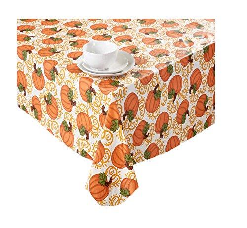 Harvest Autumn Pumpkins Fall Vinyl Tablecloth PEVA Flannel Backed 52 x 90