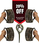 """AleHorn Handcrafted Genuine""""Small Council"""" Drinking Horn Bottle Opener 20 oz Mug Pack Bundle Tankard Whiskey, Beer, Wine, Ale, And Mead"""