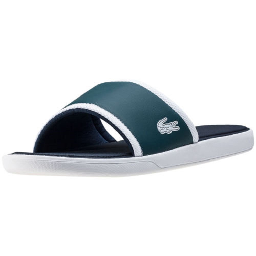 Lacoste Mens L.30-Slide-317 White//Green Slip-On Sandals Shoes