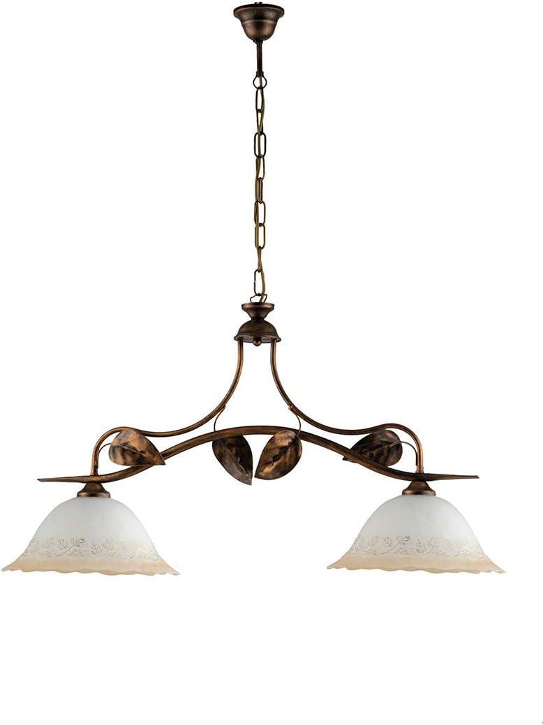Lámpara balanza clásica hierro forjado y cristal bronce limón 2 luces