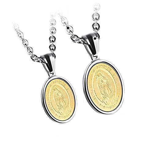 JAJAFOOK Lovers Stainless Steel Necklaces Our Lady of Guadalupe Religious Pendant, Set of 2 Silver and Gold