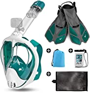 Odoland 5-in-1 Snorkeling Packages, Full Face Snorkel Mask with Adjustable Swim Fins and Lightweight Backpack