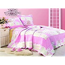 Artinen Strawberry Shortcake Bedding 3 Piece Quilt Set Bedspread, Double/Full/Queen Pink White Quilted Summer Blanket