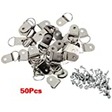 SODIAL(R) 50 Pcs Medium D-Ring Picture Frame Strap Hangers with Screws
