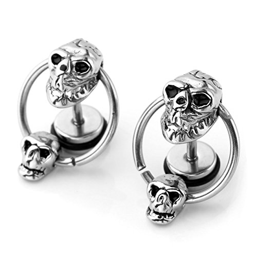 JOVIVI Stainless Steel Double Skull Hoop Ear Tragus Cartilage Helix Stud Earring, 2pc -
