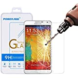 Samsung Note 3 Screen Protector, Poweradd Samsung Galaxy Note 3 Tempered Glass Screen Protector with Bubble Free, 9H Hardness, Touchscreen Accuracy - Retail Packaging
