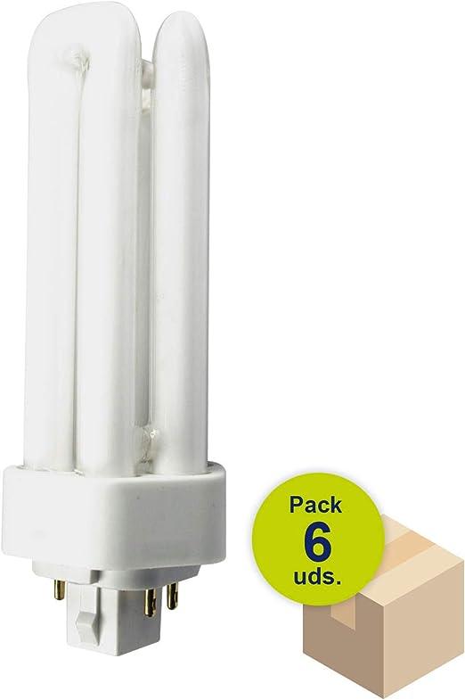 HALOTEC Pack 6 Bombillas Bajo consumo de 4 pins con casquillo GX24q-3 230V 26W 4200K: Amazon.es: Iluminación