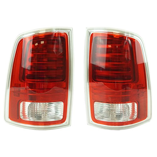 Pickup Tail Light Chrome Trim (Tail Light Lamp Rear LED w/ Chrome Trim LH RH Pair for Ram Truck Pickup)