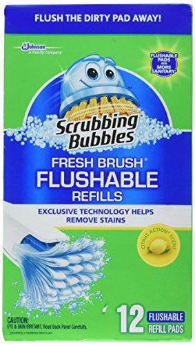 Scrubbing Bubbles 71102 12 Count, Fresh Brush Flushable Pad Refill - Exclusive Bubble