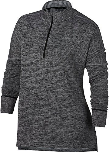 NIKE Women's Plus Size Sphere Element ½ Zip Running Shirt(Black/HTR, 2X) by NIKE