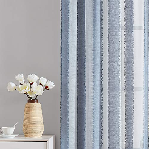 Fragrantex Striped Blue White Sheer Curtains 84 inches Long for Living Room Rod Pocket Eyelash Décor Window Voile Draperies for Bedroom Kids Room Dusty Blue 38