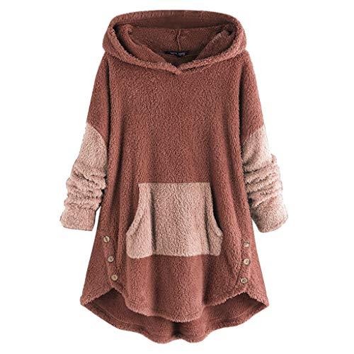 Bravetoshop Women's Plus Fleece Hoodies Coat Casual Loose Oversized Warm Tunic Sweatshirt with Front Pockets(Orange,M)