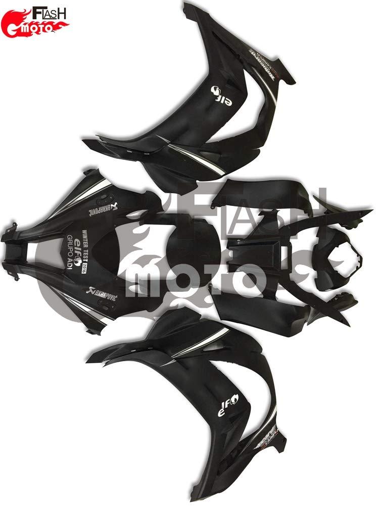 FlashMoto kawasaki 川崎 カワサキ ZX10R Ninja 2016 2017用フェアリング 塗装済 オートバイ用射出成型ABS樹脂ボディワークのフェアリングキットセット ブラック   B07L89LMHR