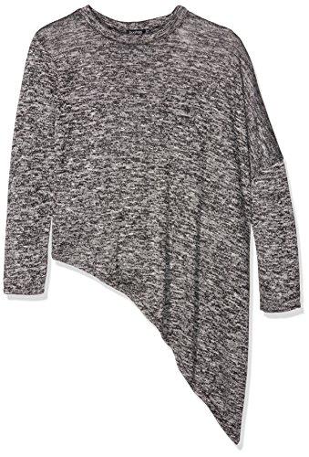 Boohoo Asymmetric Hem Long Sleeve, Camiseta de Manga Larga para Mujer gris oscuro