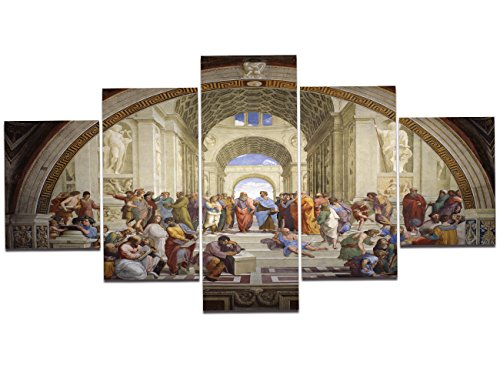 (Yatsen Bridge 5 Piece Canvas Wall Decor for Living Room The School of Athens by Raphael Giclee Canvas Prints Wrapped Gallery Wall Art Stretched and Framed Ready to Hang)