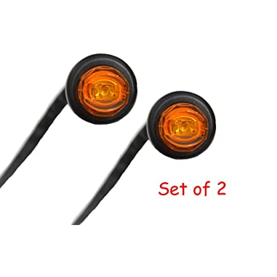 "Set of 2 3/4"" Bullet Amber Mini Round LED Light Clearance Side Marker Truck Trailer Jeep: Automotive"