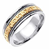 14K Two Tone Gold 8mm Greek Key & Rope Design Wedding Band Promise Ring Comfort Fit