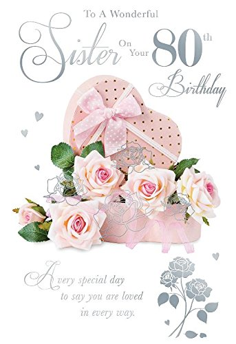 To A Wonderful Sister On Your 80th Birthday Roses Design Happy Card Amazoncouk Kitchen Home