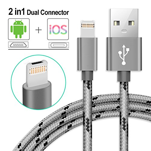 iPhone Charger Lightning Cable and Micro USB Cable 2 in 1 Dual Charging Cable iPhone and Android Charger 3.28ft Nylon Braided Charging Cord Data Sync Cable for iPhone/iPad/iPod/Samsung/HTC/LG Dual Ipod Interface Cable