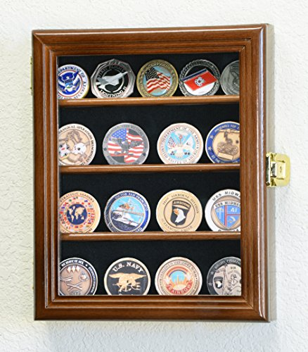 XS Military Challenge Coin Display Case Cabinet Holder Rack Box w/ UV Protection -Walnut Finish