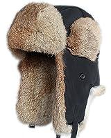 FURTALK Real Rabbit Fur Ushanka Trapper Hunting Hat Bomber Aviator Winter Cap
