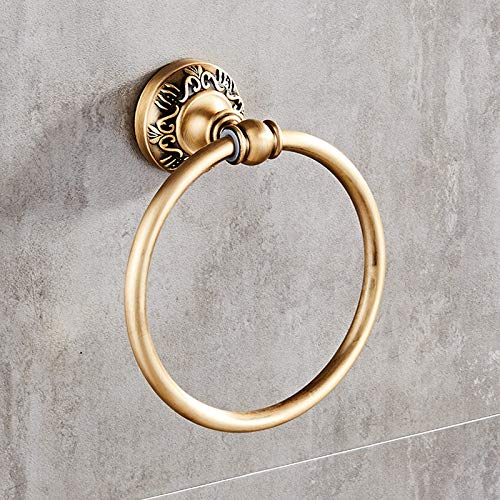 WEN-UD Antique/Black/White Wall-Mounted Round Towel Ring Classic Bathroom Towel Holder Bathroom Accessories ()