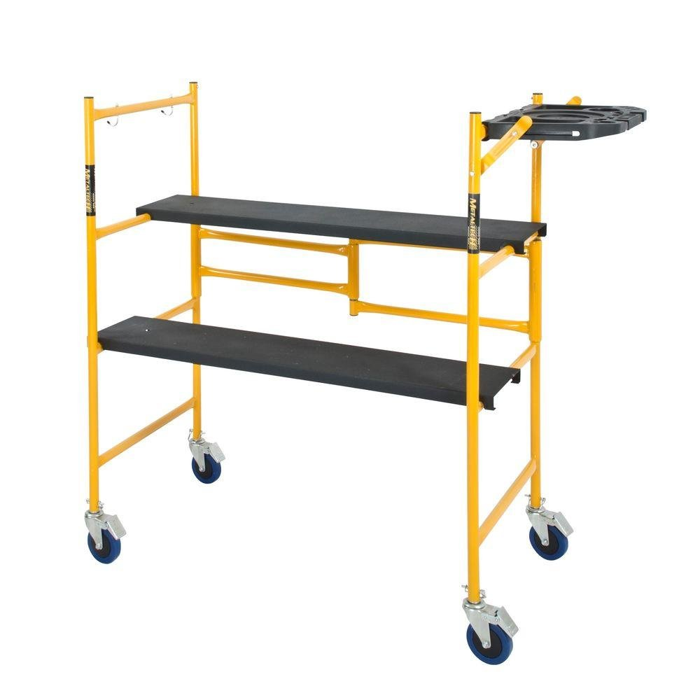 MetalTech 4 ft. x 4 ft. x 2 ft. Mini Rolling Scaffold 500 lbs. Capacity with Tool Shelf by Metaltech
