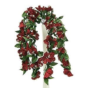 "Kampoojoo - Burgundy 26"" Hanging Hibiscus Bush Home Wedding Silk Flowers Centerpieces 48"