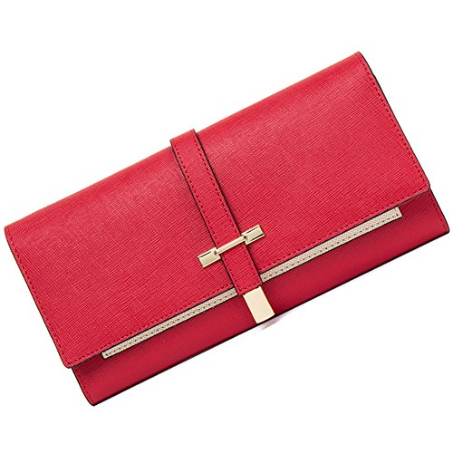 Clearance RFID Blocking Leather Wallet for Women Slim Clutch Purse Long Designer Trifold Ladies Credit Card Holder Organizer Wine Red