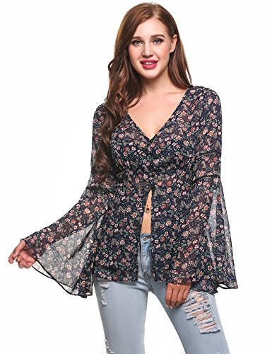Zeagoo Women's Bell Sleeve Floral Print See Through Chiffon Blouse Shirt Top 51Ha1bEYVOL
