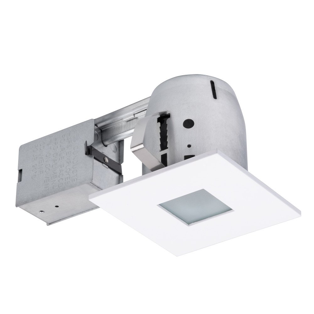 Globe electric 4 die cast flush square trim recessed lighting kit matte white tempered frosted glass easy install push n click clips 3 88 hole size