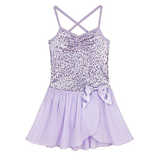 iiniim Girls Sequined Ballet Leotard Dance Tutu Dress Dancer Costume Lavender 4-5 (Ballet Dancing Costume)