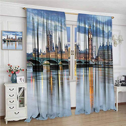 PikaQ Short Blackout Drapes W84 x L96 Inch,Room Darkening Wide Curtains,London Decor,The Big Ben and Houses of Parliament Accros The River Great Britain International Photo,Blue Cream