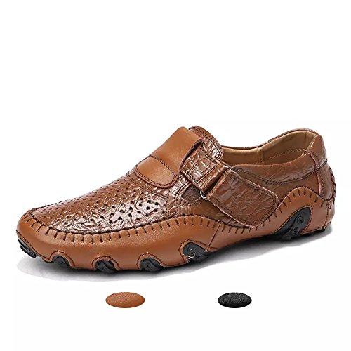 Loafers Eleganti Durevole Cuoio Traspirante Estivi Mocassini Scarpe Antiskid Marrone EU 40 Uomo Classico Casual nRZqXqpv