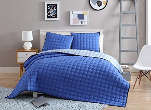 Blue Circles Embossed (VCNY Home Checker Board 3 Piece Circle Embossed Reversible Coverlet Set, Full/Queen, Blue)
