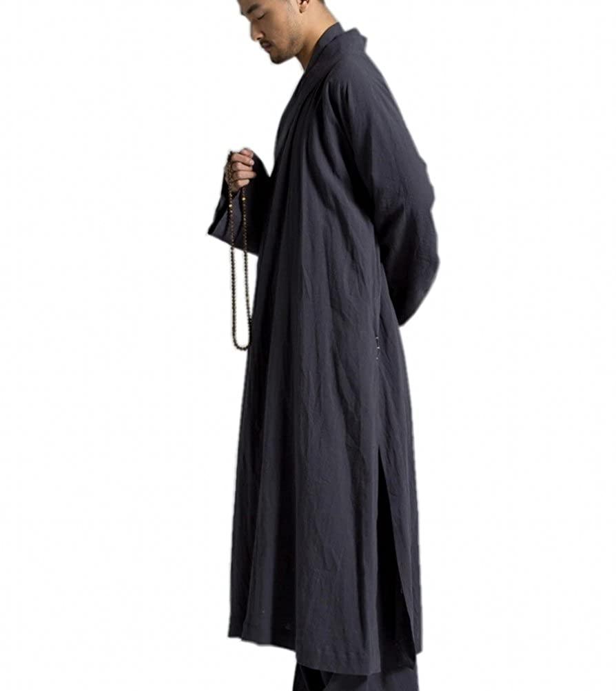 ZanYing Mens Long Gown Traditional Buddhist Meditation Monk Robe