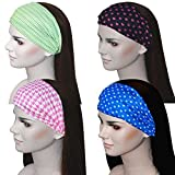 exercise Sweat Wicking Stretchy Athletic Bandana Headbands / Head wrap / Yoga Headband / Head Sarf / Best Looking Head Band for Sports or Fashion, or Exercise (set 7 (4 count))