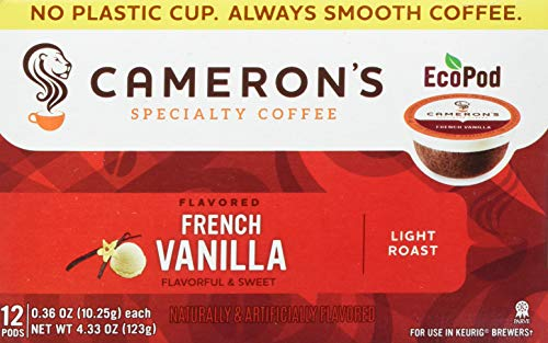 Camerons Coffee Single Serve Pods, Flavored, French Vanilla, 12 Count