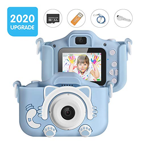 Kids Camera, Digital Camera for Kids 16.0MP 2.0 Inch HD Shockproof Camera, IPS Screen Kids Video Camera with 32 GB Memory Card and Games, Mini Kids Camcorder(1920x1080P) Camera Gifts for Kids (Blue)