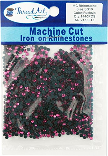 Machine Cut Hot Fix Rhinestones SS10 (3mm) Fuchsia 10 Gross (1440 stones/pkg) Hotfix Rhinestones - 25 Colors and 5 sizes (Fuchsia Color Rhinestone)